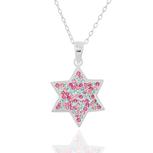 NP8297-1 - Colourful Star Of David Pendant with Crystals