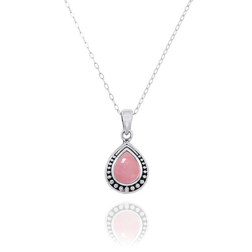 NP12366-PPKOP -  Drop Shape  Silver Pendant with a  Peru Pink Opal Piece