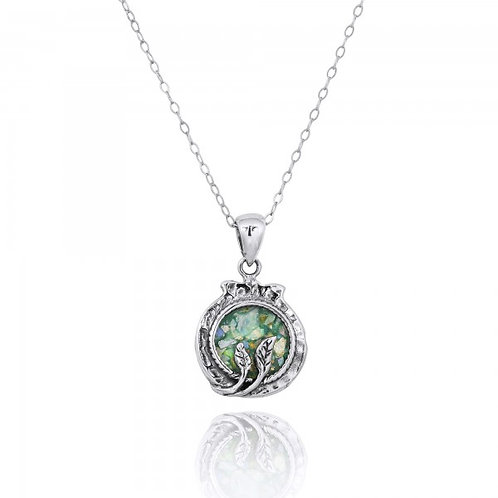 [NP12228-RG] Sterling Silver Pomegranate with Leaves Pendant and Round Roman Gla