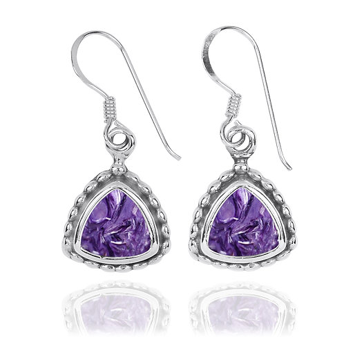 NEA3754-CHR - Classic Triangle Earrings With Charoite Stones