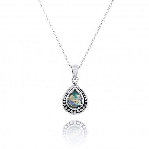 NP12366-RG  -  Drop Shape  Silver Pendant with a  Roman Glass Piece