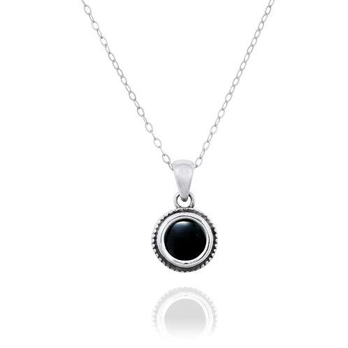 NP12206-BKON -  Elegant Round Silver Pendant with a Round Black Onyx Piece