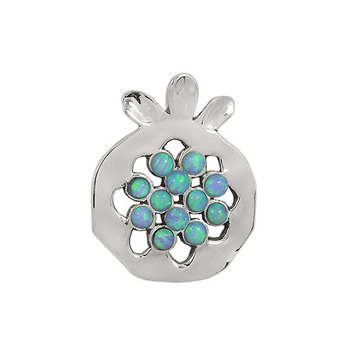 NP11906-BLOP - Elegant Pomegranate  shape Silver Pendant with Synthetic Blue Opa