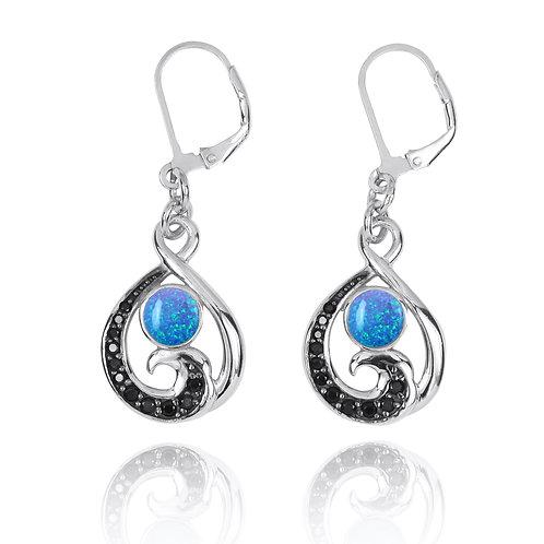 NEA3322-BLOP-BKSP - Elegant Wave Design Earrings with synthetic Blue Opal