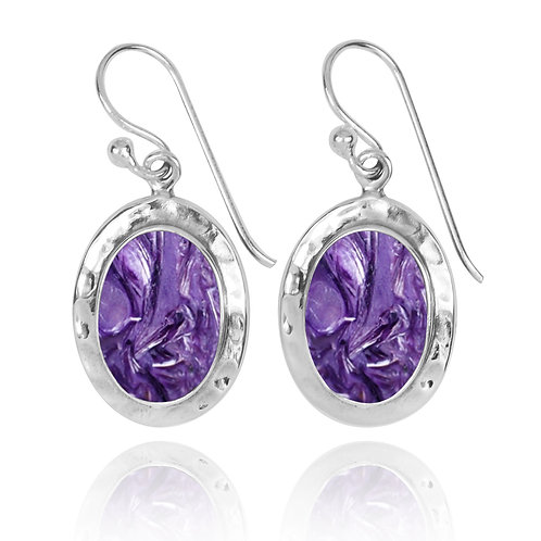 NEA3724-CHR - Oval Classic Earrings with Charoite