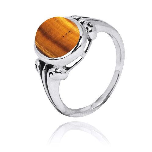 NRB3631-BRTE - Classic Round Tiger Eye Ring