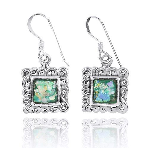 NEA3757-RG - Elegant Roman Glass Earrings , Temple Design