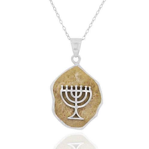 NP11639-JRSL - Menorah pendantwith Jerusalem Stone