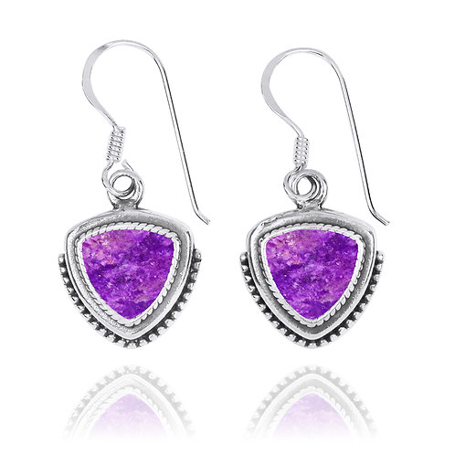 NEA3772-SUG - Classic Pointy Triangle Earring with Sugilite Stones
