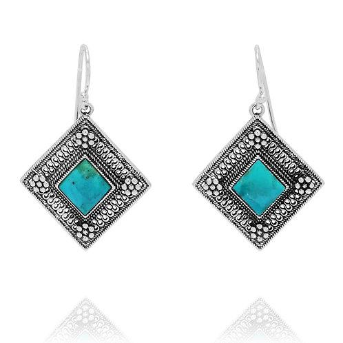 KEW3-TQ - Elegant Ethnic Yemenite Inspired Earrings