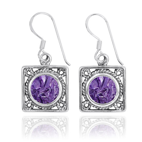 NEA3759-CHR- Elegant Square Earring - Rope Design with Charoite Stones