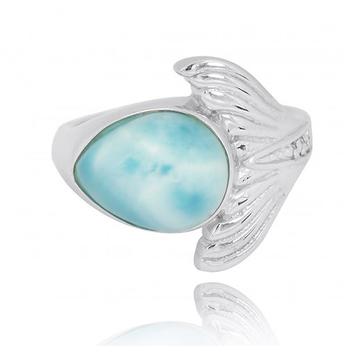 [NRB8368-LAR-WHCZ] Sterling Silver Whale Tail Ring with Larimar and White CZ