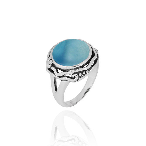 NRB8801-LAR -  Round Shape Larimar Contemporary Ring