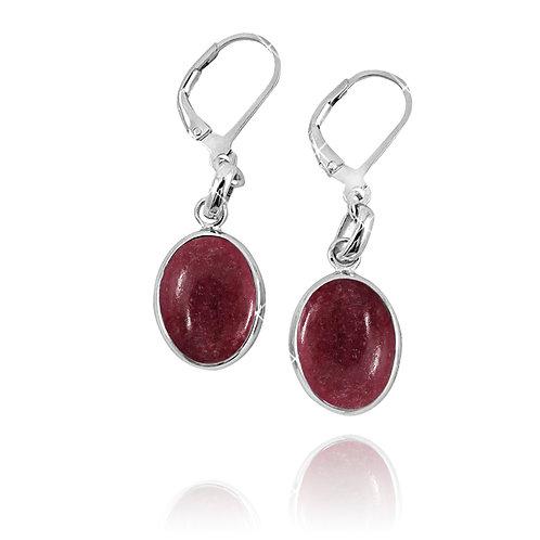 NEA3054-RDN - Elliptic Elegant Rhodonite Earrings