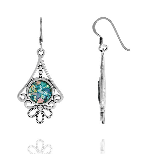 NEA3648-RG -The Floral Roman Glass Earings