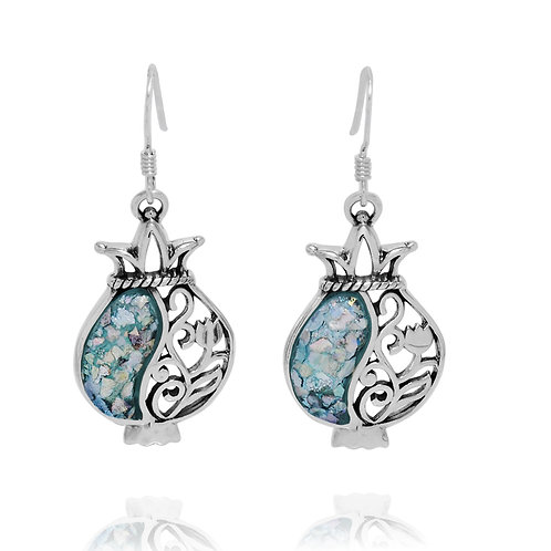 NEA3645-RG - The Royal Pomegranates Earrings with Roman Glass