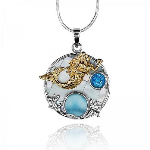 [KPG18-LAR] Round shape larimar with swiss blue topaz , mermaid , round mother o