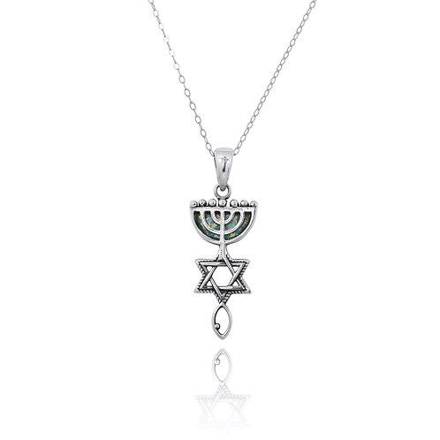 NP12314-RG - Roman Glass Messianic Pendant - Menorah , Star ofd David and fish