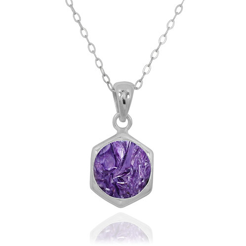 NP12232-CHR - Classic Silver Pendant with a Round Charoite Piece