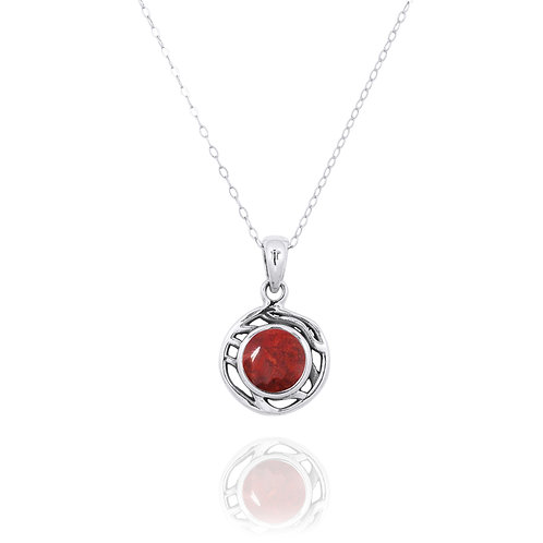 NP12368-SPC  -  Drop Shape  Silver Pendant with a Sponge Coral Piece