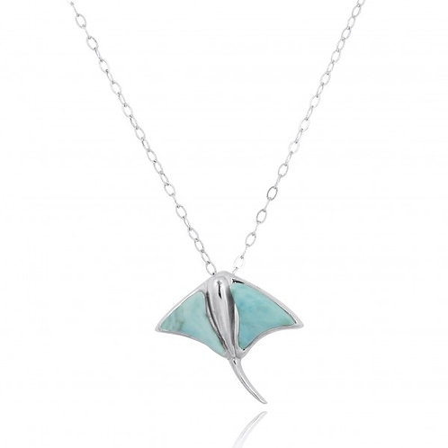 [NP10917-LAR] Sterling Silver Stingray Pendant with Larimar