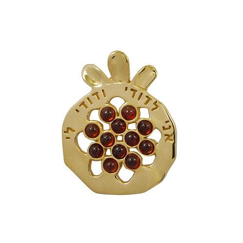NP11908-GAR-GP - 18k Gold Plated Elegant Pomegranate Pendant with Garnet Pieces