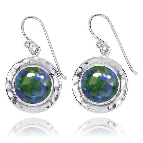 NEA3726-AZM - Round Classic Earrings with Azurite Malachite Stones