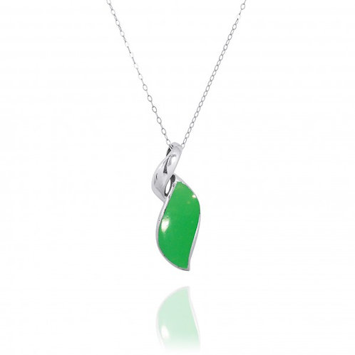 """[NP8157-CRP] Modern Sterling Silver Hebrew Letter """"Yud"""" Pendant with Chrysoprase"""