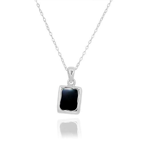 NP12332-BKON - Classic Silver Pendant with a Rectangle Black Onyx Piece