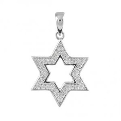 NP8925 - Classic Elegant Star of David Pendant with White CZ