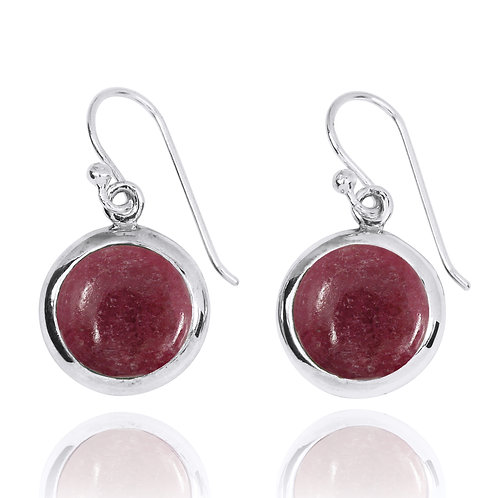 NEA3713-RDN - Classic Round Earrings with Rhodonite