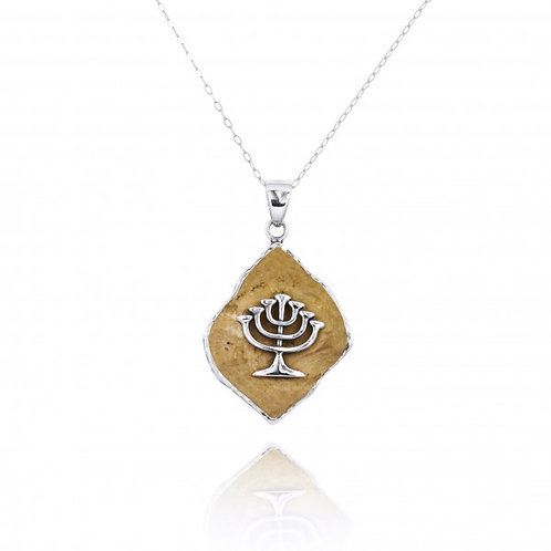 [NP11648-JRSL] Jerusalem Stone Pendant With Sterling Silver Menorah