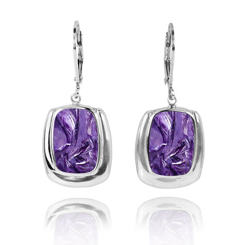 NEA3086-CHR - Classic Charoite Earrings