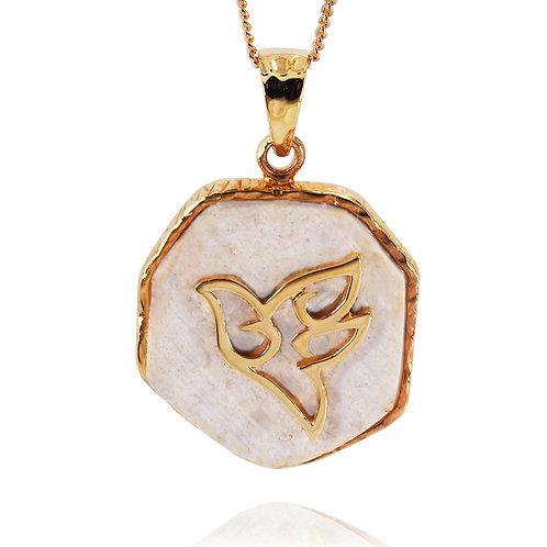 NP11629-JRSL-GP -18 K Gold Plated Jerusalem Stone Pendant