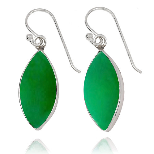 NEA3717-CRP - Classic Marquise Shape Earrings with Chrysoprase