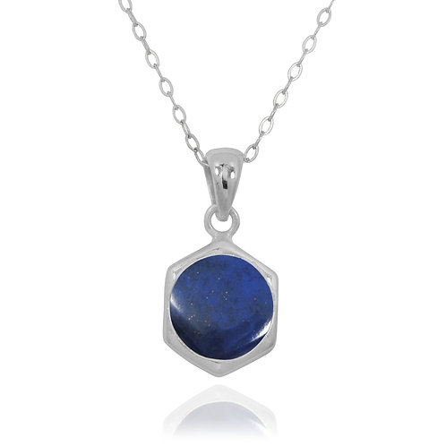 NP12232-LAP - Classic Silver Pendant with a Round Lapis Lazuli Piece
