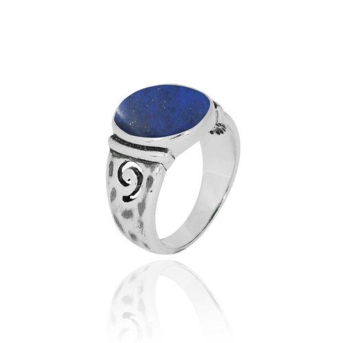 NRB8803-LAP -  Round Shape Lapis Lazuli Elegant Ethnic Ring