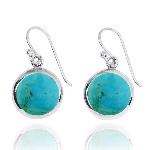 NEA3713-GRTQ- classic Round Earrings with Turquoise Stones
