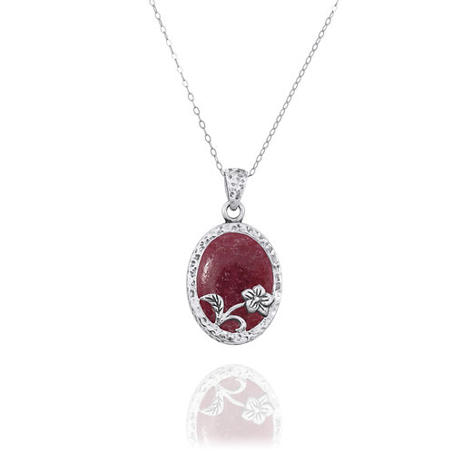 NP8166-RDN - Elegant Oval Flower Design Silver Pendant with Rhodonite
