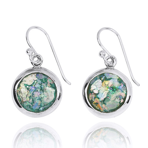 NEA3713-RG Classic Round Roman Glass Earrings
