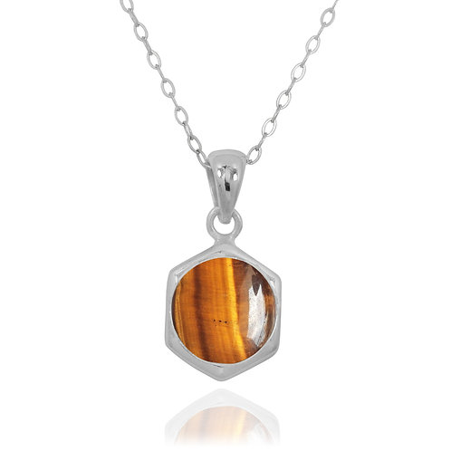 NP12232-BRTE - Classic Silver Pendant with a Round Tiger eye Piece