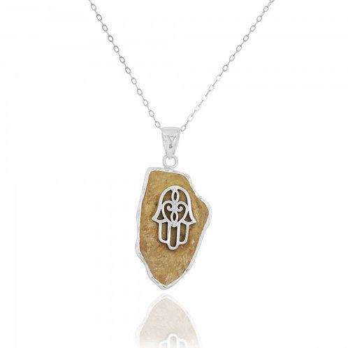 [NP11645-JRSL] Jerusalem Stone Pendant With Sterling Silver Hamsa