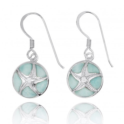 NEA3242-LAR-CRS] Silver Starfish with Crystal on Larimar French Wire Earrings