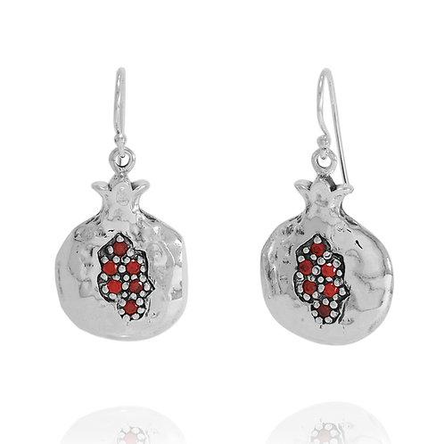 NEA3583-GAR -Classic Pomegranate Earings with Garnet CZ