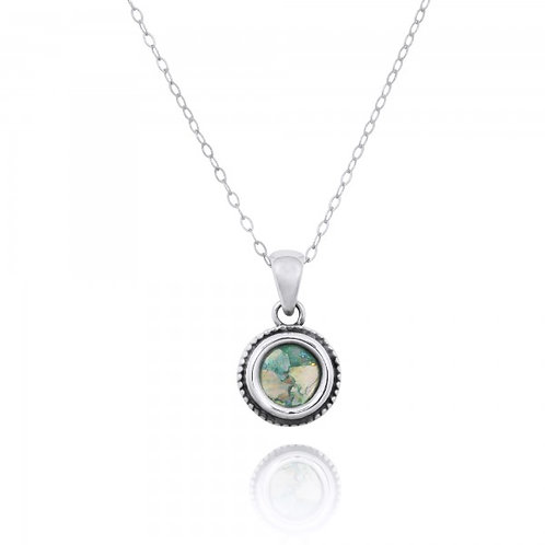 NP12206-RG -  Elegant Round Silver Pendant with a Round Roman Glass Piece