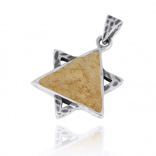 [NP11631-JRSL] Sterling Silver Star of David Pendant with Jerusalem Stone
