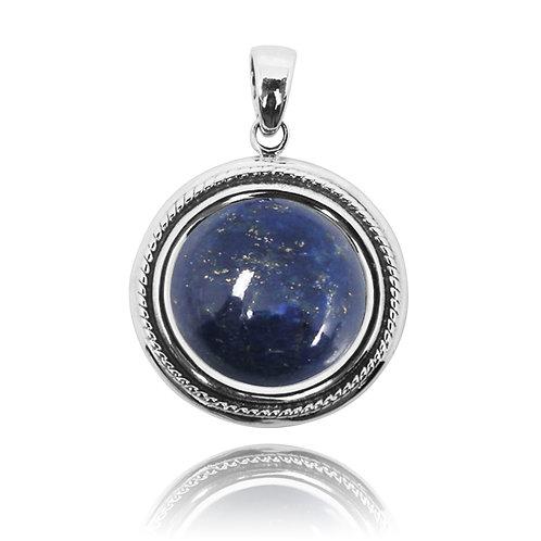 NP10276-LAP - Elegant Round Flower Design Silver Pendant with Lapis Lazuli