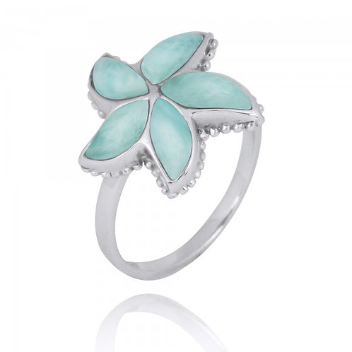 [NRB7779-LAR] Sterling Silver Starfish Ring with Larimar