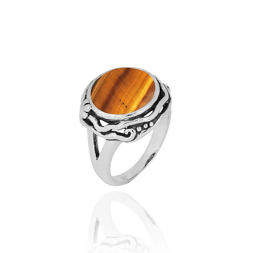 NRB8801-BRTE  -  Round Shape Tiger Eye Contemporary Ring