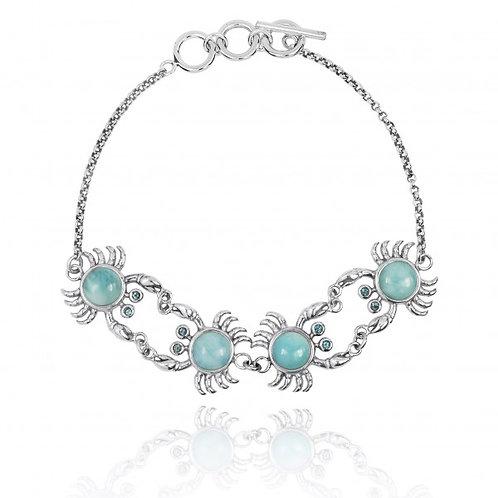 [NB1436-LAR-SWBLT] Sterling Silver Crab with Larimar Chain Bracelet